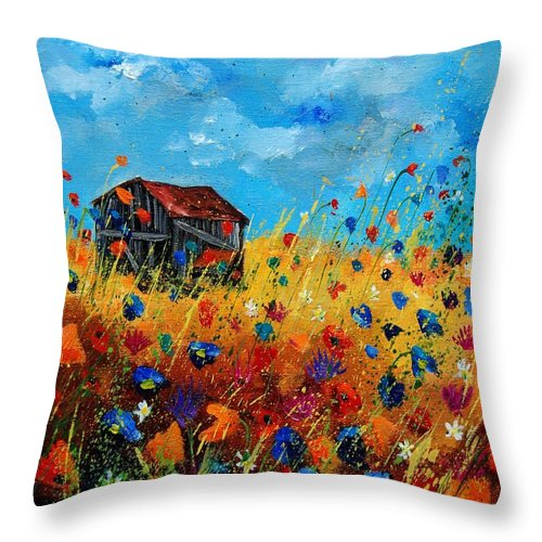 Poppies Throw Pillow featuring the painting Old Barn by Pol Ledent