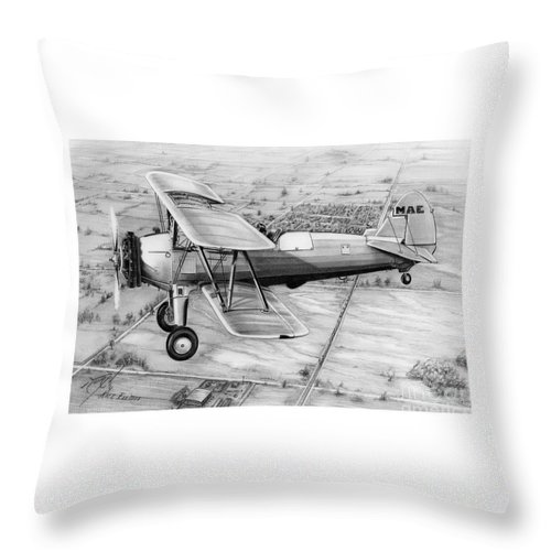 Pencil Throw Pillow featuring the drawing Old Bi Plane by Murphy Elliott