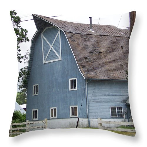 Old Throw Pillow featuring the photograph Old Blue Barn Littlerock Washington by Laurie Kidd