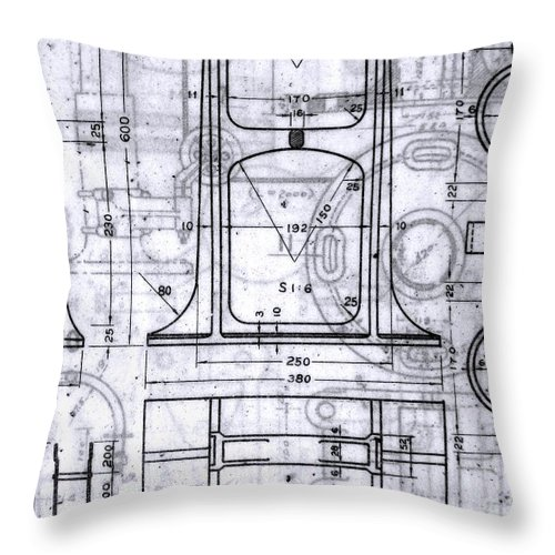 Old Blueprints Throw Pillow for Sale by Yali Shi