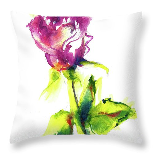 Painting Of Pink Rose Throw Pillow featuring the painting Old Blush - Rose by Jacki Kellum