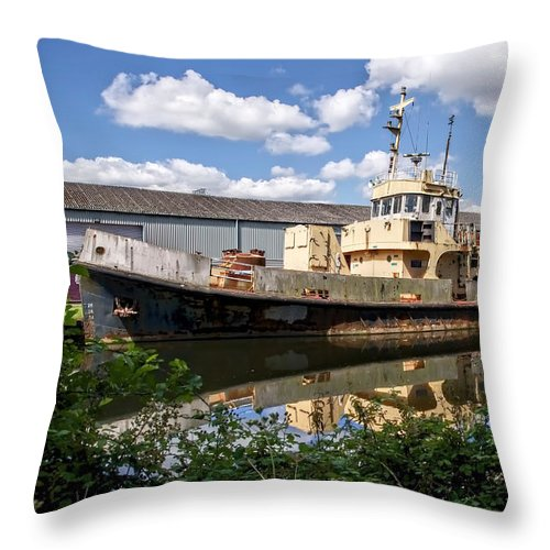 Exeter Throw Pillow featuring the photograph Old Boats Along The Exeter Canal 2 by Susie Peek