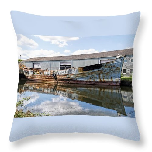 Exeter Throw Pillow featuring the photograph Old Boats Along The Exeter Canal by Susie Peek