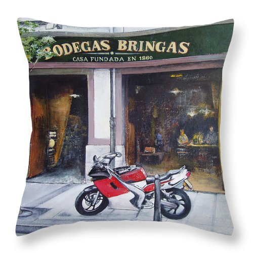 Bodegas Bringas Throw Pillow featuring the painting Old bodegas Bringas by Tomas Castano