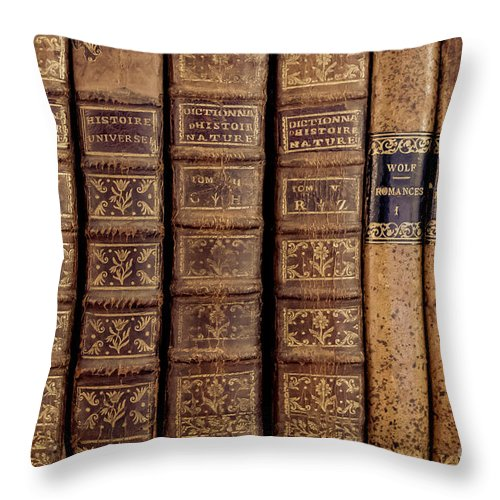 Book Throw Pillow featuring the photograph Old Books by Edward Fielding