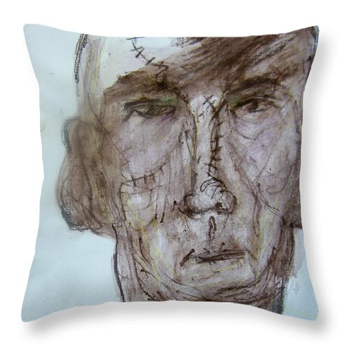 Abstract Throw Pillow featuring the painting Old Boxer by Judith Redman