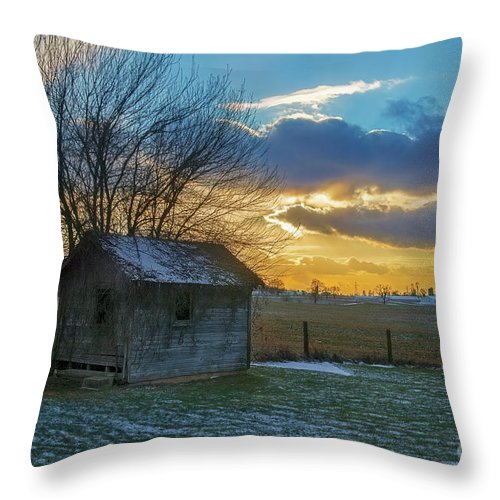 Building Throw Pillow featuring the photograph Old Building At Sunset by David Arment