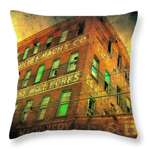 Architecture Throw Pillow featuring the photograph Old Empty Building In Retro Colors by Gothicrow Images