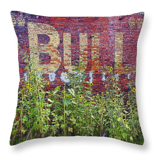 Rebecca Korpita Throw Pillow featuring the photograph Old Bull Durham Sign - Delta by Rebecca Korpita