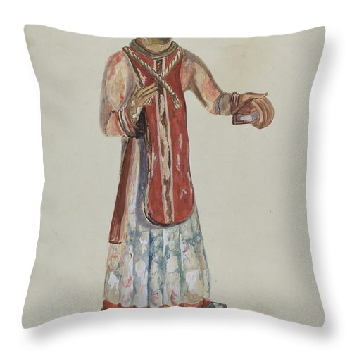 Throw Pillow featuring the drawing Old Bulto San Lorenzo by Conrado Barrio