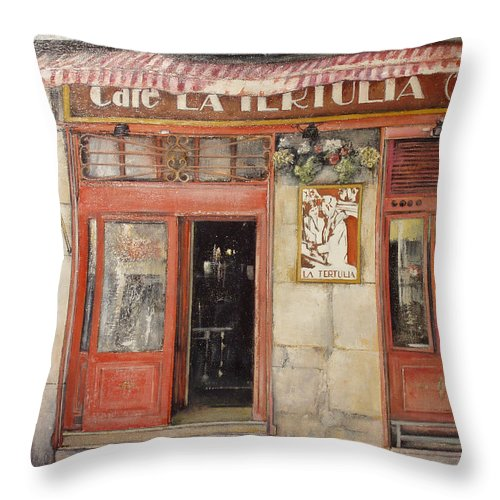 Cafe Throw Pillow featuring the painting Old Cafe- Santander Spain by Tomas Castano