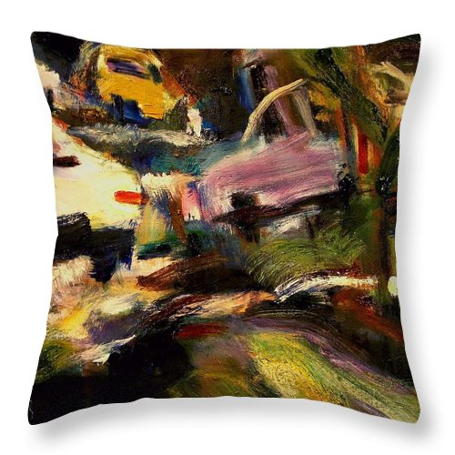 Dornberg Throw Pillow featuring the painting Old Car Lot by Bob Dornberg