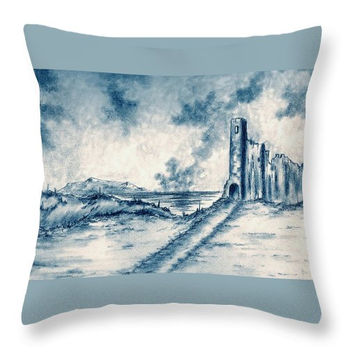 Castle Throw Pillow featuring the drawing Old Castle Ruins by Michael Vigliotti