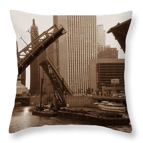 Chicago Throw Pillow featuring the photograph Old Chicago River Bridges by Peter Potter