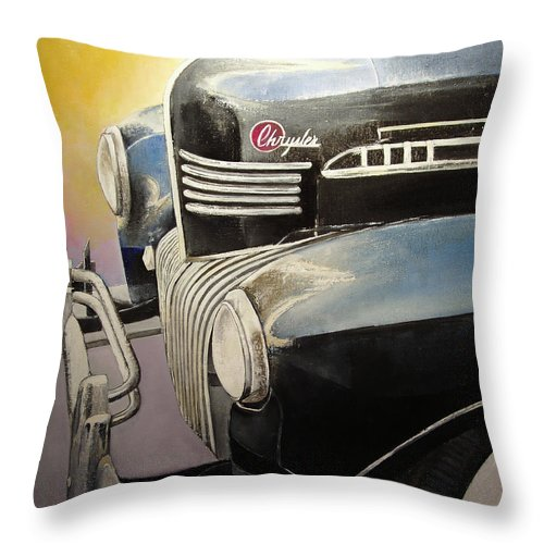 Old Throw Pillow featuring the painting Old Chrysler by Tomas Castano