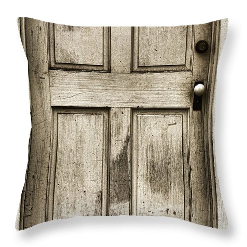 Vintage Door Throw Pillow featuring the photograph Old Church Door by Bonnie Bruno