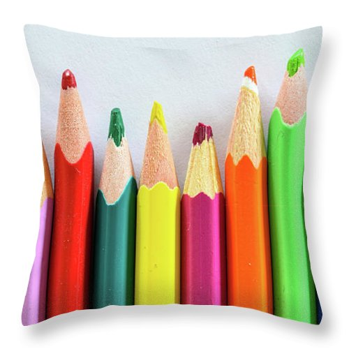 Background Throw Pillow featuring the photograph Old Colored Pencils by Nicola Simeoni