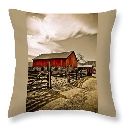 Americana Throw Pillow featuring the photograph Old Country Farm by Marilyn Hunt
