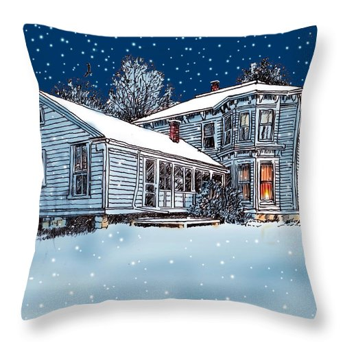 Old Country Home Throw Pillow featuring the mixed media Old Country Home by John Lautermilch