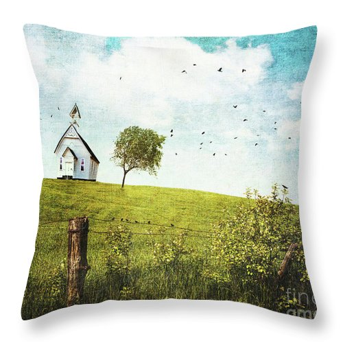 Abstract Throw Pillow featuring the photograph Old Country School House On A Hill by Sandra Cunningham