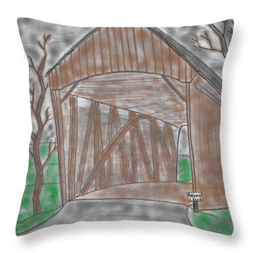 Covered Bridge Throw Pillow featuring the mixed media Old Covered Bridge by James Back