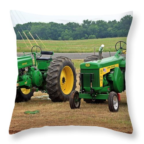 John Deere Throw Pillow featuring the photograph Old Deere by Monica Wheelus