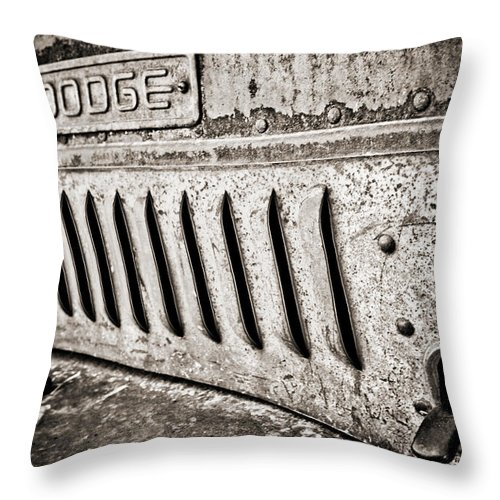 Americana Throw Pillow featuring the photograph Old Dodge Grille by Marilyn Hunt