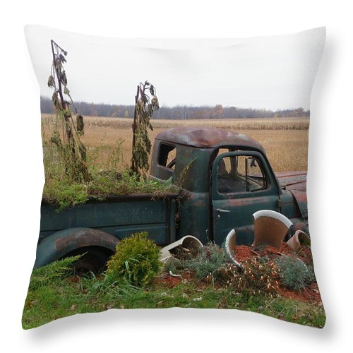 Landscape Throw Pillow featuring the photograph Old Dodge New Job by Peggy King