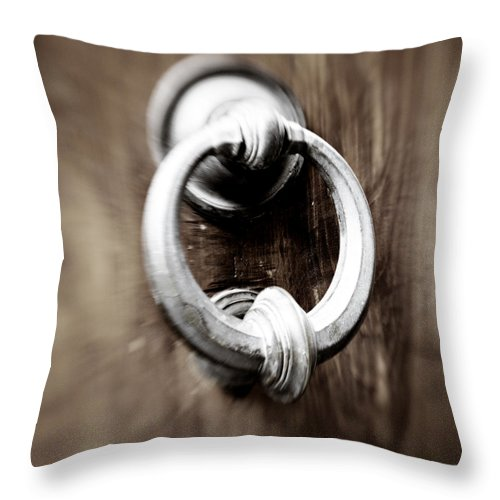 Home Throw Pillow featuring the photograph old Door Knocker by Marilyn Hunt