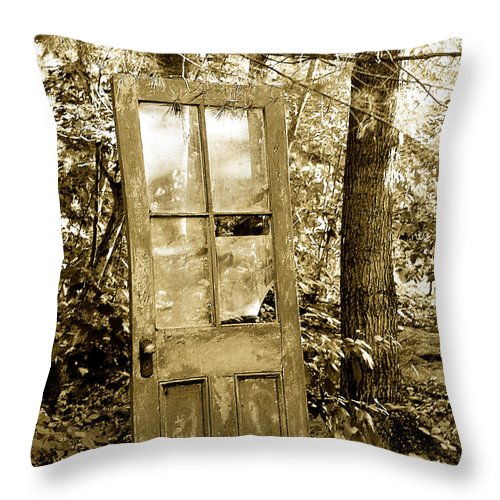 Broken Glass Throw Pillow featuring the photograph Old Door by Linda McRae