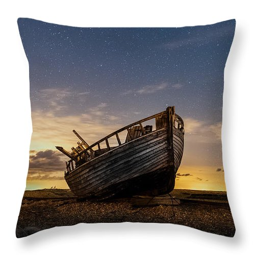 Dungeness Throw Pillow featuring the photograph Old Dungeness Fishing Boat Under The Stars by David Attenborough