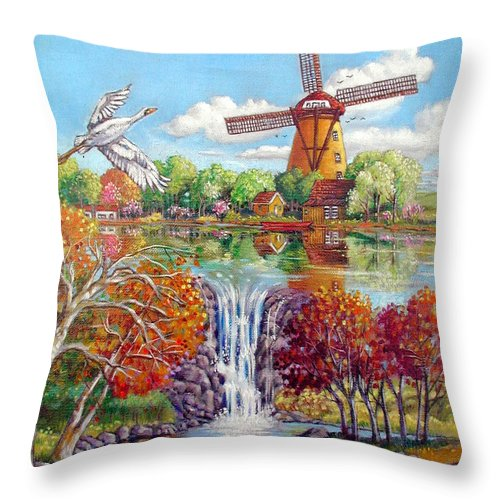 Dutch Windmill Throw Pillow featuring the painting Old Dutch Windmill by John Lautermilch