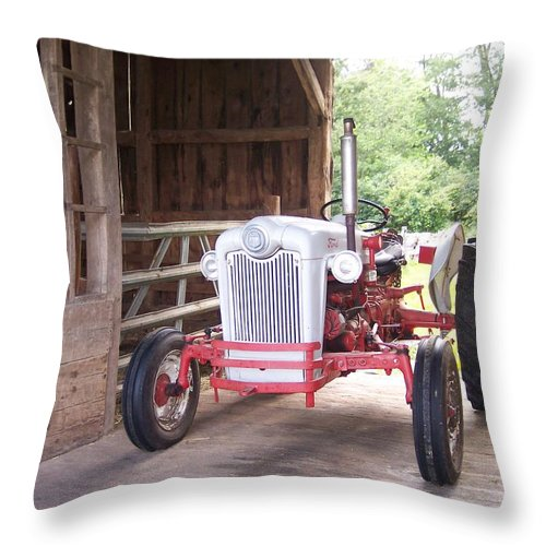 Old Ford Tractor Barn Farm Country Rustic Antique Throw Pillow featuring the photograph Old Faithful by Anna Villarreal Garbis