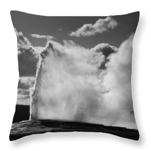 Old Faithful Geyser Throw Pillow featuring the photograph Old Faithful Geyser by Chad Davis