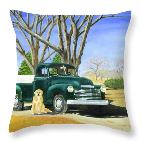 Chevrolet Throw Pillow featuring the painting Old Farmhands by Vicki VanDeBerghe