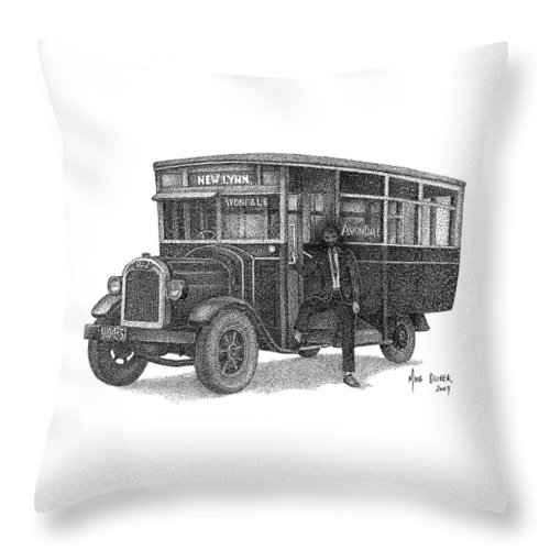 Old Fashioned Bus Pointillism Drawing Throw Pillow