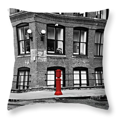 Brooklyn Throw Pillow featuring the photograph Old Fire Hydrant In Dumbo Brooklyn by Randy Aveille