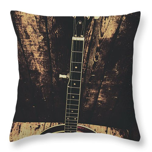 Instrument Throw Pillow featuring the photograph Old folk music banjo by Jorgo Photography - Wall Art Gallery