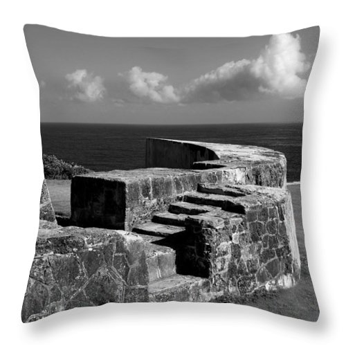 Fort Throw Pillow featuring the photograph Old Fort Steps 2 by Perry Webster