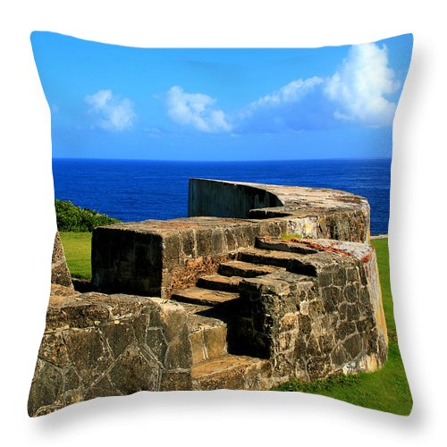 Fort Throw Pillow featuring the photograph Old Fort Steps by Perry Webster