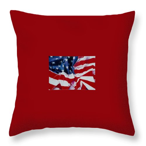 Red Throw Pillow featuring the painting Old Glory 1 by Constance Drescher