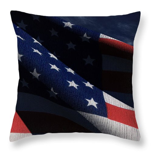 Us Flags Throw Pillow featuring the digital art Old Glory 2 by Richard Rizzo