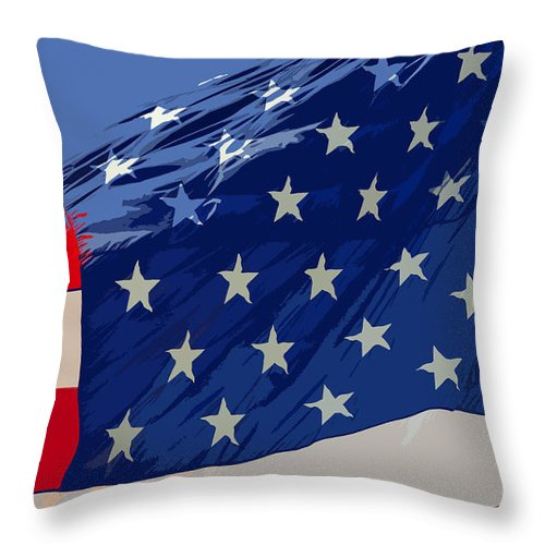 Old Glory Throw Pillow featuring the painting Old Glory by David Lee Thompson