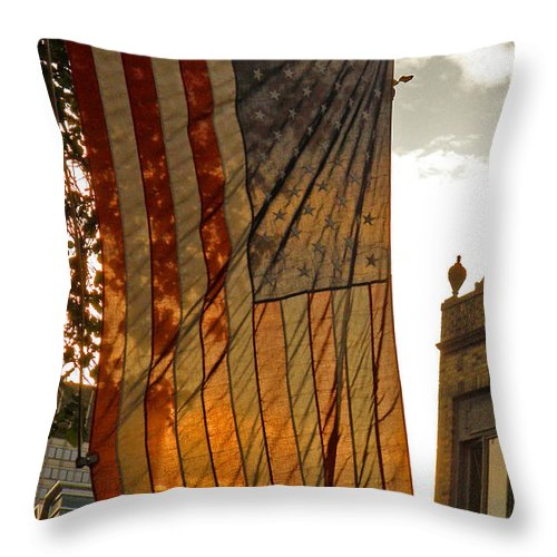 American Flag Throw Pillow featuring the photograph Old Glory by Donna Shahan