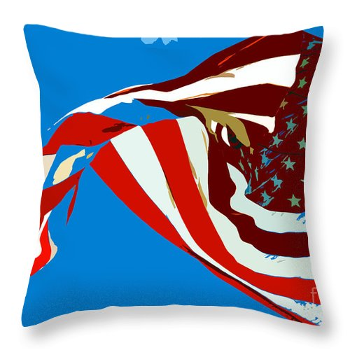 Old Glory Throw Pillow featuring the painting Old Glory Flying by David Lee Thompson