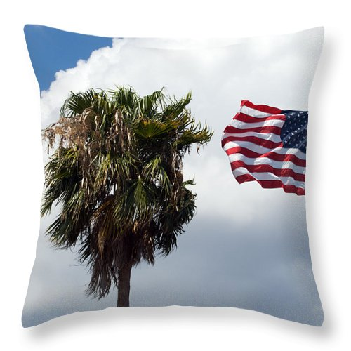 Florida; Titusville; Space; Coast; Astronauts; Astronaut; Cape; Canaveral; Mercury; Project; Freedom Throw Pillow featuring the photograph Old Glory Monument At Titusville Florida by Allan Hughes