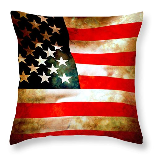 Flag Throw Pillow featuring the photograph Old Glory Patriot Flag by Phill Petrovic