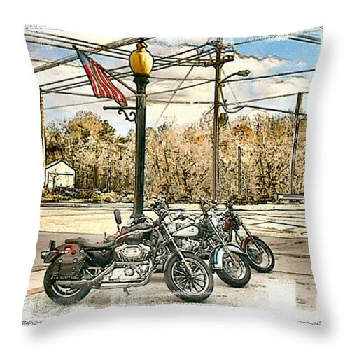 Motorcycles Throw Pillow featuring the photograph Old Glory by Rose Guay