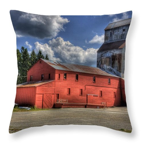 Industrial Landscape Throw Pillow featuring the photograph Old Grain Elevator Sandpoint by Lee Santa