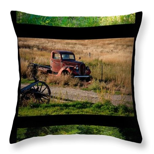 Vintage Throw Pillow featuring the photograph Old Guys Trio 2 by Idaho Scenic Images Linda Lantzy